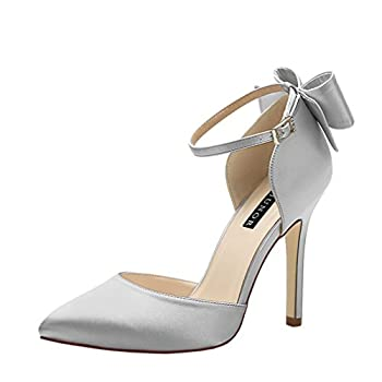 ERIJUNOR E1966A Women High Heel Bow Ankle Strap Evening Party Dance Wedding Satin Shoes Silver Size 8