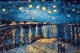 Kunyun Van Gogh - Lienzo de noche estrellada para sala de estar, sin marco, 50 x 70 cm