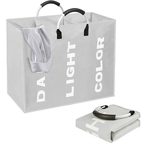 O'woda Cesto para Ropa Sucia Plegable on 3 Compartimentos, Bolsas para la Colada Impresa para Baño o Dormitorio, Gris