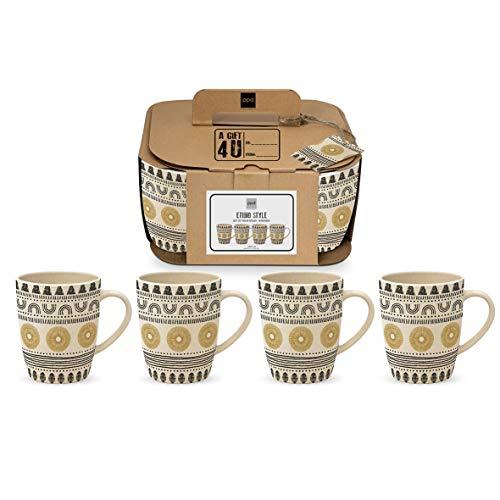 CasaJame Cocina Cubertería Vajilla Mug Juegos x 4 Tazas Grandes en Bambú...