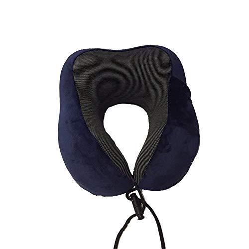 almohada viaje,Almohada de viaje con cuello magnético de algodón con memoria, almohada de oficina de rebote lento para aviones - azul marino