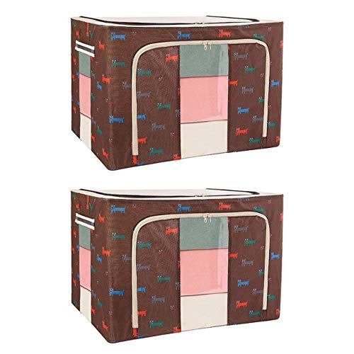 Economico y practico Bolsa de contenedor de almacenamiento de ropa plegable LG, 2 piezas de tela de gruesa organizadores y almacenamiento, caja de almacenamiento de marco abierto de 2 lados, con mango
