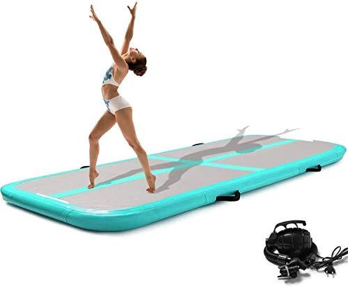 Minetom - Esterilla de gimnasia hinchable de 300 cm, para tumbling con bomba, adecuada para gimnasia, yoga, entrenamiento y parkour en casa, 10 cm de alto (verde)