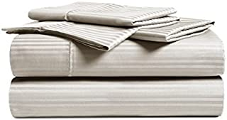 CHATEAU HOME COLLECTION Luxury Combed Cotton 500 Thread Count Executive Stripe 3 Piece Sheet Set, Great Deal - Lowest Prices, (Twin, Beige)