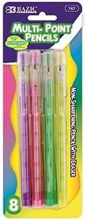 BAZIC Transparent Multi-Point Pencil. Non-Sharpening Pencil w/ Eraser (8/Pack)