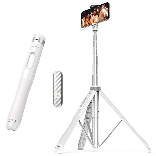 """ATUMTEK 51"""" Selfie Stick Tripod, All in One Extendable Phone Tripod Stand with Bluetooth Remote 360° Rotation for iPhone and Android Phone Selfies, Video Recording, Vlogging, Live Streaming - White"""