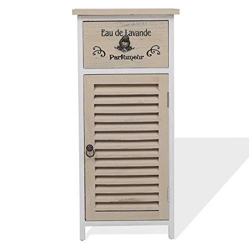 Rebecca Mobili Mueble baño, armario auxiliar para el dormitorio, 1 cajón de 1 puerta, blanco beige, estilo vintage, cuarto de baño dormitorio - Medidas: 75 x 32 x 27 cm ( AxANxF) - Art. RE4594