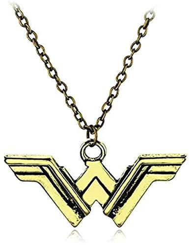 niuziyanfa Co.,ltd Collar de aleación Colgante con Logotipo de alas de Bronce Retro para Hombre, Mujer, Accesorios para fanáticos, joyería de película