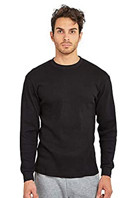 Men's Classic Waffle-Knit Heavy Thermal Top (L, Black)