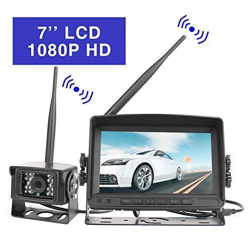 Achteruitrijcamera met 7 inch TFT LCD achteruitrijcamera monitor draadloze waterdicht nachtzicht voor vrachtwagen/aanhanger/bus/Van