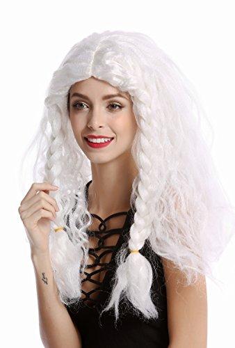 WIG ME UP ® - 91154-ZA68/ZA62 Peluca Mujer Hombre Carnval Halloween Trenzas Gruesas Larga Trenza Trenzado Blanca Vikingo Bárbaro Viejo Princesa de Hielo