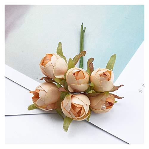 Trockenblumen 6/12 stück Kleine tee rosen hochzeit dekorative blumen weihnachten kränze diy geschenke box sammelalbum home decor künstliche blumen Künstliche Blumen ( Farbe : 4 , Größe : 12 Pieces )