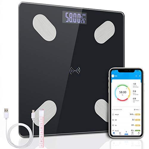 flintronic Körperfettwaage, Bluetooth Personenwaage, Smart Digitale Waage mit App, iOS&Android (max 180KG) Fitness Tracking Gewichtswaage (Das Gerät ist Nicht für den medizinischen Gebrauch geeignet)