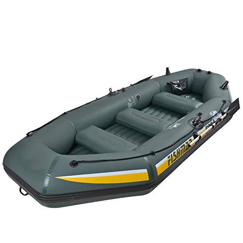 XFSD Verdicktes PVC-Kajak für den Außenbereich, 3/4-Personen-Schlauchboot mit Fischerboot, Gummiboot Hovercraft, mit Aluminium-Doppelrudern, motorisch montierbar, Schwimmweste + Aufbewahrungsrucksack