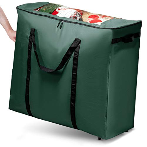 Seasonal/Christmas XLarge Rolling Accessory Storage Bag/Container, Xmas Decoration Storage Bag for All Christmas Decorations. Perfect for Tabletop Trees, Garlands, Figurines, Ornaments, Giftwrap, Etc.