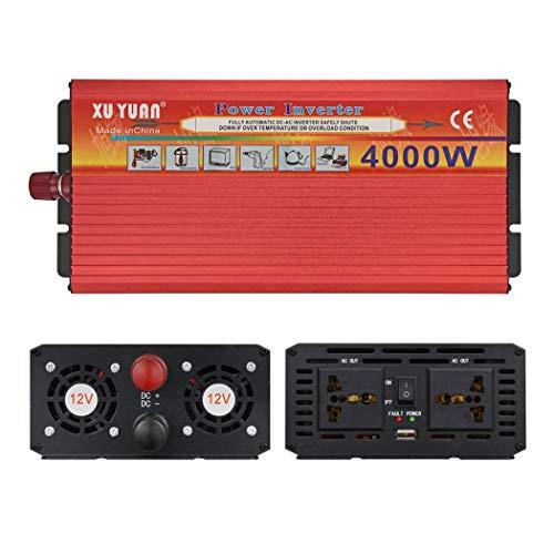 JGRH Inversor de Coche de 12V / 24V a 220V 4000W inversor con el inversor del Coche del USB con Adaptador de Doble Transformador de mechero para el refrigerador, teléfono móvil
