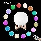 Lámpara Luna, 3D.Mr.Señor [Versión Última ]20CM16 Colores USB Cambio de 3D Lámpara de Control de Luz de Luna con Soporte de Madera para Dormitorio, Regalo de Fiesta