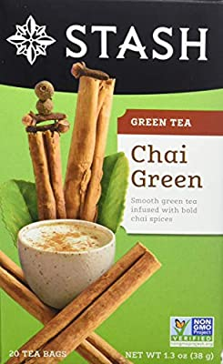 Stash Tea Green Chai Tea 20 Count Tea Bags in Foil (Pack of 6) Individual Spiced Green Tea Bags for Use in Teapots Mugs or Teacups, Brew Hot Tea or Iced Tea, Add Milk for Chai Latte