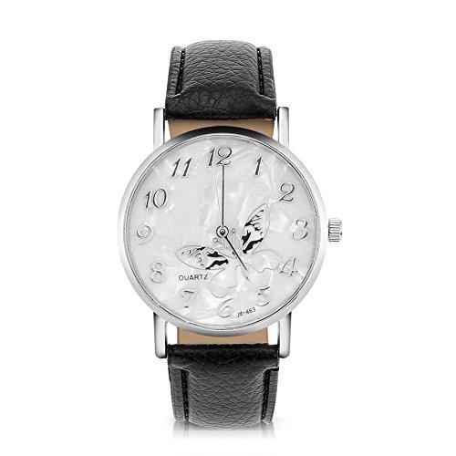 Sonew Frauen Quarz Uhr Weibliche analoge runde Armbanduhren PU-lederner Bügel Mode einfache Schmetterlings Entwurfs Armbanduhr(Black)