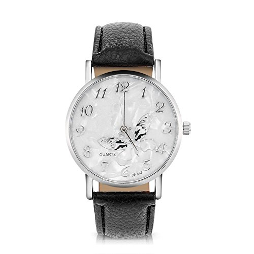 Sonew Reloj de Cuarzo de Las Mujeres Reloj de Pulsera analógico Femenino Redondo Correa de Cuero de la PU Reloj de diseño de Mariposa Simple de la Manera(Black)