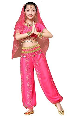 Happy Cherry Mädchen Karneval Elegante Kleid Bauchtanz Indianisch Kostüme Halloween Prinzessin Tanzkeidung Rosa rot 105CM-120CM