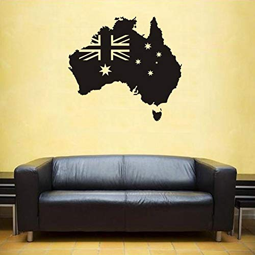 zxddzl Australien Flagge Karte Aufkleber Aufkleber Poster Coffee Shop Vinyl Wand Auto Aufkleber Pegatina Decal Decor Wandbild Karte Aufkleber-64x60cm