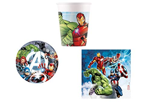 Little Flight Avengers Line - Juego de mesa compostable para 8 niños Avengers (8 platos de 23 cm, 8 vasos, 20 servilletas)
