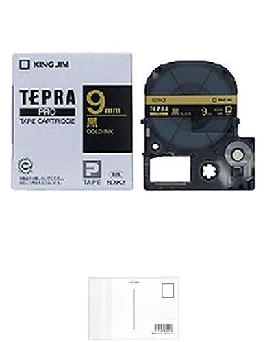 キングジム テープカートリッジ テプラPRO 9mm SC9KZ 黒 金文字 + 画材屋ドットコム ポストカードA