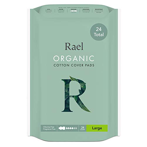 Almohadillas de algodón orgánico para menstruación de Rael, tamaño grande, extradelgado, con alas, certificadas