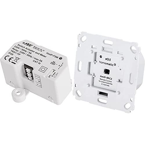 Homematic IP 142721A0 Schalt-Mess-Aktor-Unterputz & Wandtaster für Markenschalter – 2-Fach, 152000A0