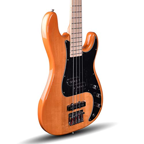 Kadence, Chronicle Series Electric Bass Guitar, Natural Ash Wood with P-J Pickup, 2 Tone and 2 Volume Control