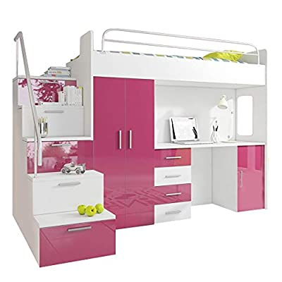Ye Perfect Choice HIGH BED TALA 4S, MODERN SET WITH WARDROBE, DESK AND BED WITH MATTRESS, FUNCTIONAL DESIGN, HIGH GLOSS INSERTS