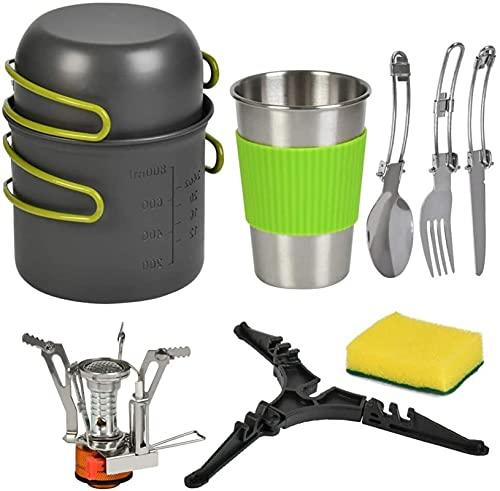 GXT Kit de Utensilios de Cocina para Acampar con ollas de Camping de 1.2L y sartén de freidor de Aluminio de 0.6L, portátiles y Plegables - Camping y Recorrido Camping Pans Suministros de Picnic