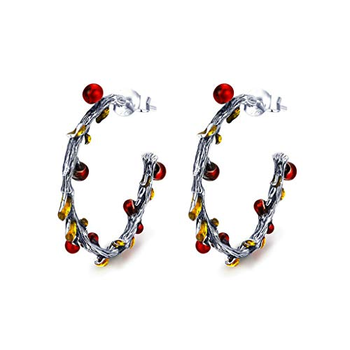 Rongzou Creative Earrings with Leaves and Fruits 925 Silver Earrings Women Charming Fashionable Jewelry for Birthday Party Valentine's Day Gift