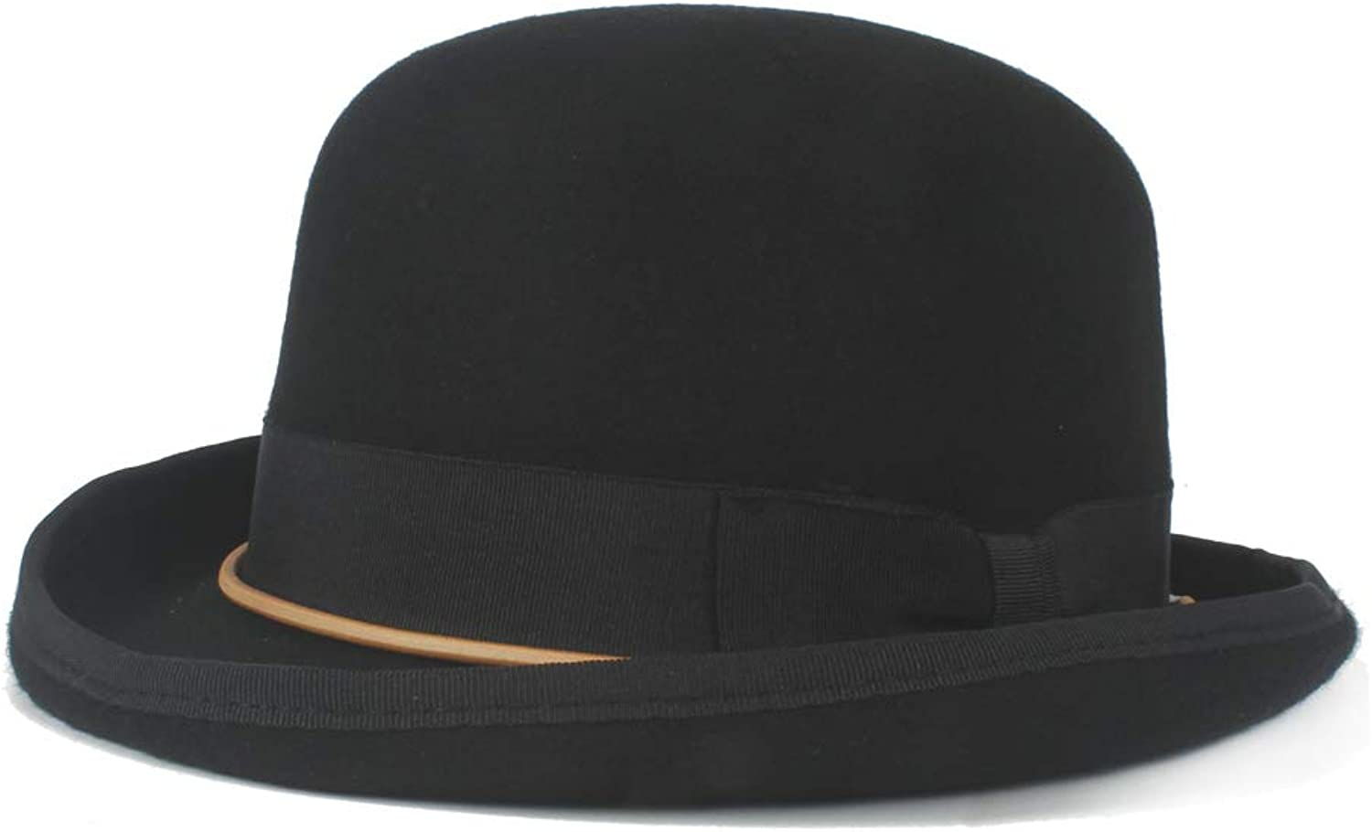 Natural Caps Men and Women Wool Bowler Hat Chain Bow Elegant Dome Hat Luxury Soft Hat Headwear Retro Steampunk Elegant Hats (color   Black, Size   57CM)