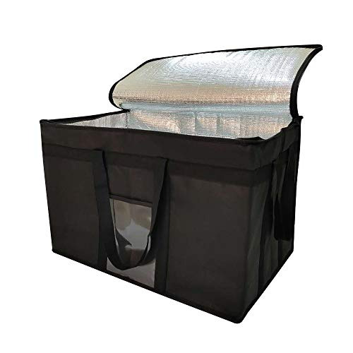 XXL-Larger isolierte Kühltaschen mit Reißverschluss, wiederverwendbare Einkaufstaschen halten Lebensmittel heiß oder kalt, ideal für Catering, Lebensmitteltransport, 58,1 cm B x 38,1 cm H x 35,6 cm T