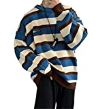 USTZFTBCL Pullover Striped Sweater Oversized Mens Knitted Sweaters Hip Hop Harajuku Korean Casual Sweater Men Blue XL