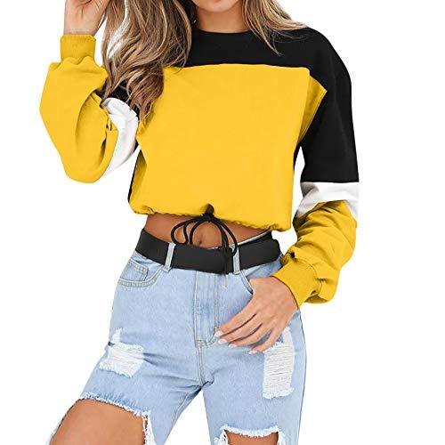 Sudadera para Mujer,riou Sudaderas Adolescentes Chica De Manga Larga Empalme Color Moda Sudadera Pullover Tops Blusa Mejor Venta Superior