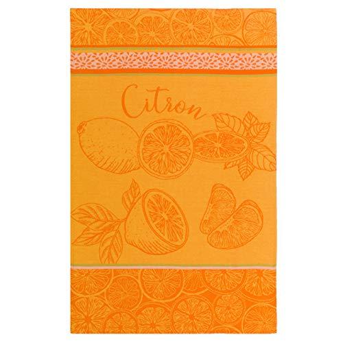 Coucke TNO-250-71061-000-CKE Torchon Jacquard Citron, Coton, Jaune, 50 x 75 cm