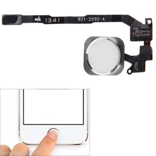 XcellentFixParts Repuesto Boton Home Reemplazo Botón de Inicio para iPhone 5S (Blanco) con Junta de Goma Cable Flex