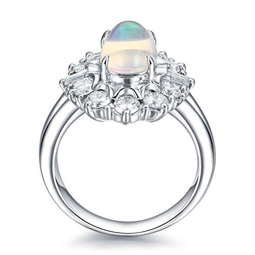 KnSam Bague Femme Fine Opale 1.18ct, Platine Diamant, Opale 1.18ct Bijoux Femme Cadeau Noël Anniversaire