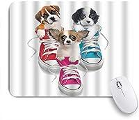 VAMIX マウスパッド 個性的 おしゃれ 柔軟 かわいい ゴム製裏面 ゲーミングマウスパッド PC ノートパソコン オフィス用 デスクマット 滑り止め 耐久性が良い おもしろいパターン (靴に座っているかわいい犬パターンデジタルプリントホワイト)