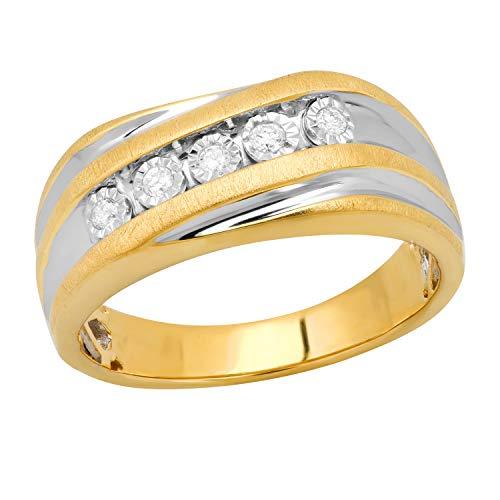 Dazzlingrock Collection Alianza de boda de plata de ley chapada en oro amarillo de 10 quilates con diamantes blancos redondos de 0,15 quilates (quilates)