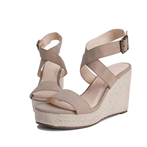 Womens Wedge Platform Espadrille Cross Ankle Strap Slingback Open Toe Shoes $23.99 (40% OFF)
