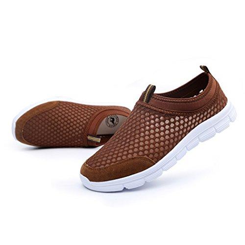 Changping Men&Women¡¯s Lightweight Breathable Qucik-dry Comfort Slip-on Mesh Running Shoes£¬Walking Sneakers Size44 Brown