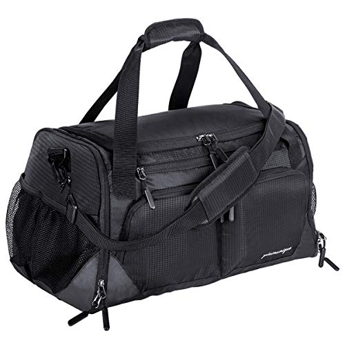 Gym Bag, Sports Duffle Bag with Shoes Compartment & Wet Pocket for Men Women, 35L, Black