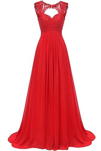 Carnivalprom Damen Chiffon Abendkleider Für Hochzeit Elegant Spitze Brautjungfer Kleider Lang Ballkleider(Rot,44)