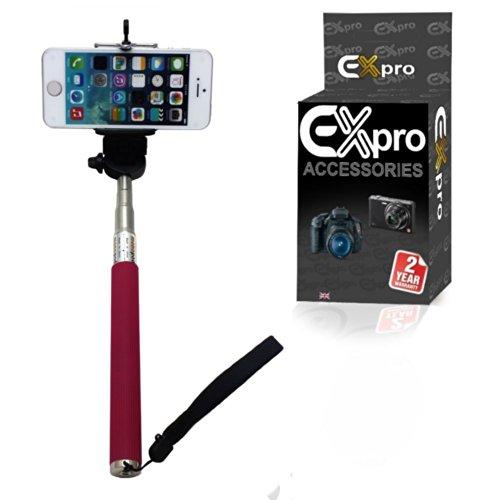 Ex-Pro® Selfies mit Verstellbare Smartphone Halterung für iPhone, Kameras, Smartphones (Stativanschluss) mit Bluetooth-Fernbedienung für iOS und Android Geräte–Schwarz