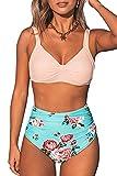 CUPSHE Damen Bikini Set Herzausschnitt Breite Träger High Waist Bademode Zweiteiliger Badeanzug Rosa/Mintgrün L