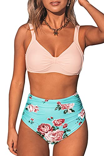 CUPSHE Women's Floral Peach Blue High Waisted Bikini Sets